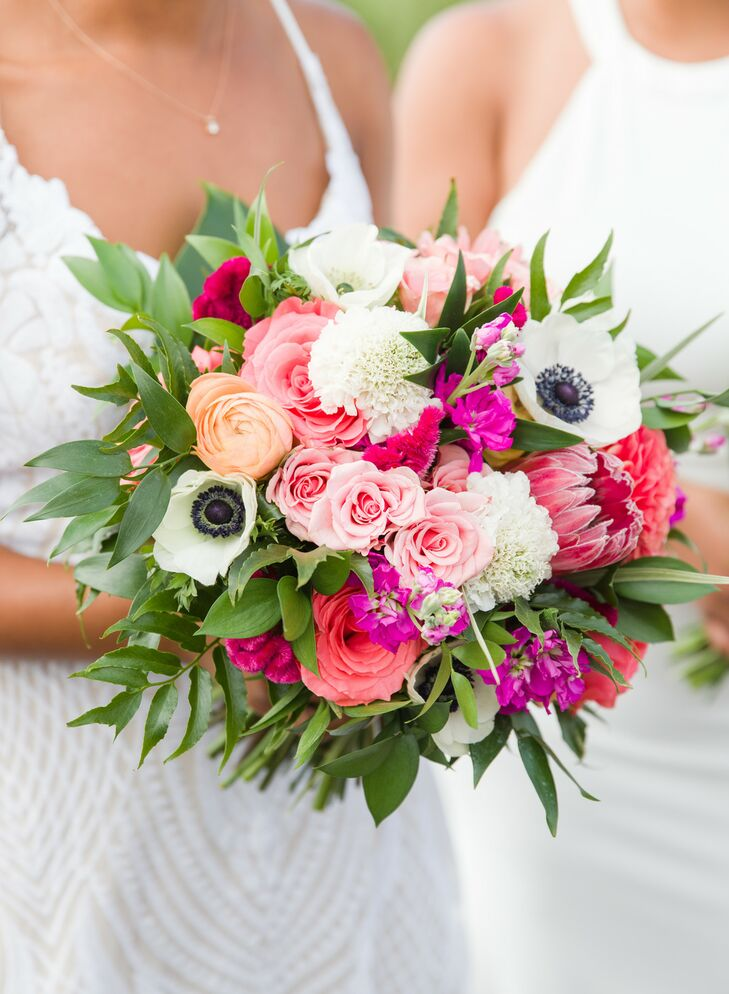 Vibrant Pink-and-White Bouquet with Anemones and Protea