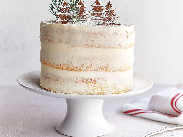 White porcelain cake stand with semi-naked holiday-themed cake