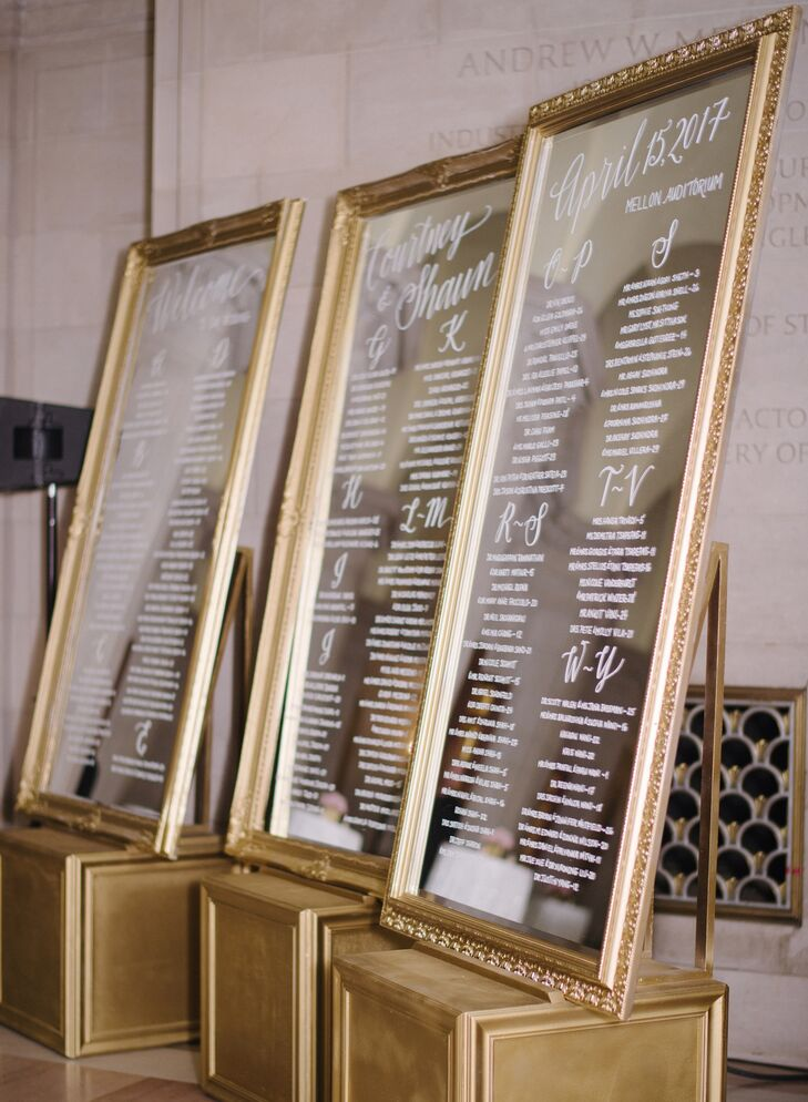 Glamorous Gold Seating Chart Display
