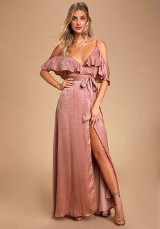 Lulus Moriah Rose Satin Wrap Maxi Dress V-Neck Bridesmaid Dress