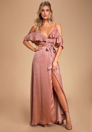 Lulus Moriah Rose Satin Wrap Maxi Dress V-Neck Bridesmaid Dress