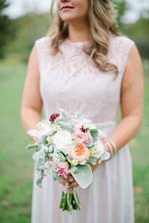 Garden Rose, Lamb's Ear Bridesmaid Bouquet