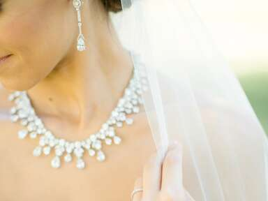 Bridal jewelry: diamond necklace and earrings