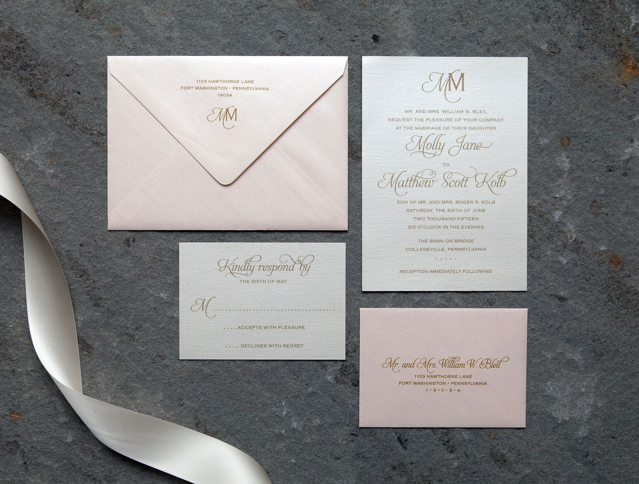Invitations paper in philadelphia pa the knot stone hill paperie monicamarmolfo Choice Image