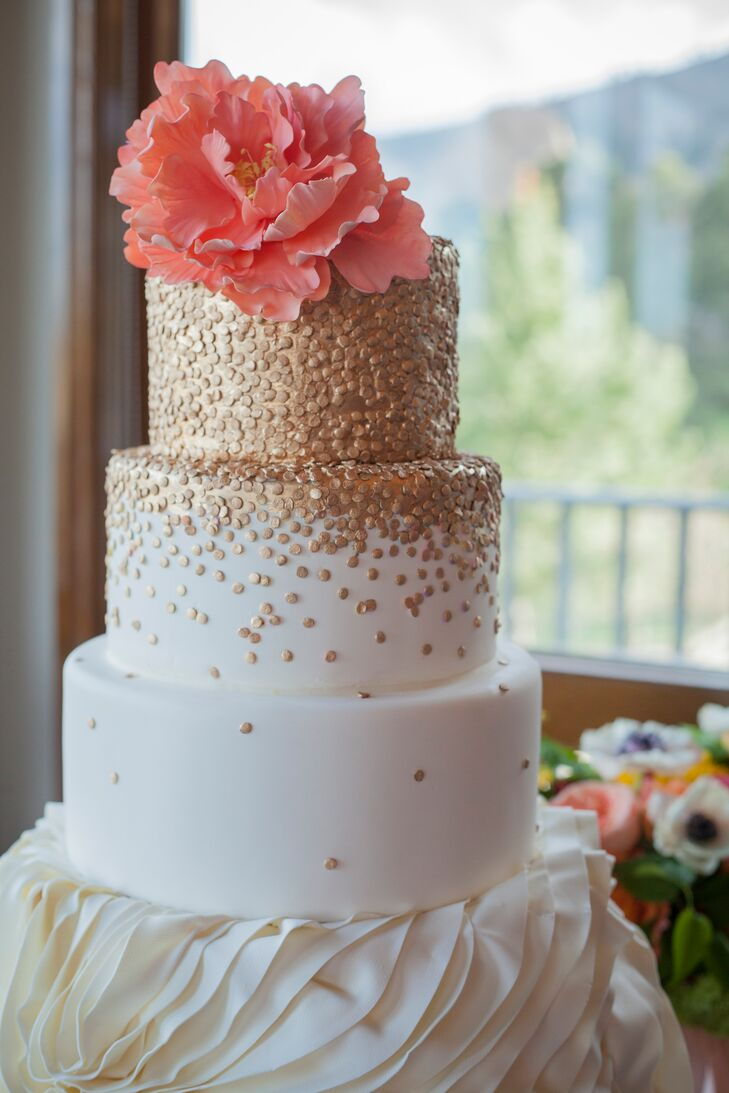 Gold Polka Dot Wedding Cake With Sugar Peony Topper