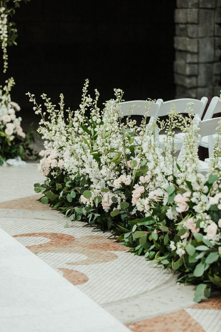 Lush Floral Aisle Arrangements at Gaylord Palms Resort in Orlando, Florida