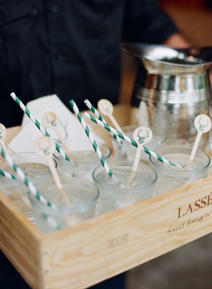 Rustic Antler-Decorated Wooden Cocktail Garnish