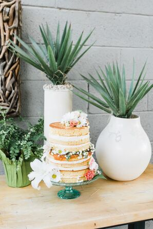 Boho Naked Cake on Green Glass Stand