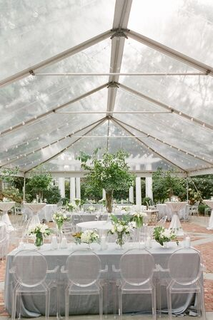 Pale Gray Linen Dining Tables and Round-Back Ghost Chairs