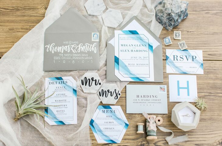 Modern Ombré Blue and White Paper Goods with Geometric Details