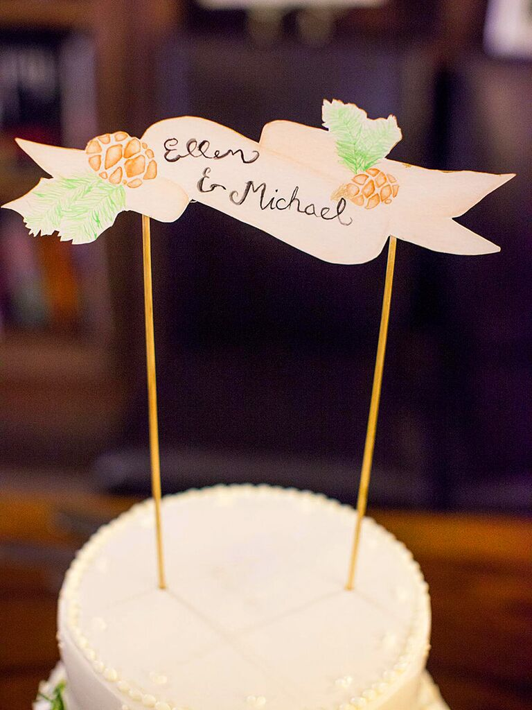 DIY rustic wood banner wedding cake topper idea