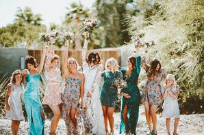 Mismatched Dusty Rose and Turquoise Bridesmaid Dresses