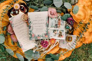Vintage and Bohemian Floral Wedding Invitation