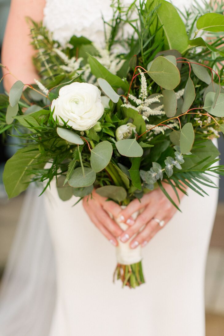 Greenery-Filled Bouquet with White Ranunculus and Eucalyptus