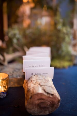 Woodland Escort Card Display With Logs