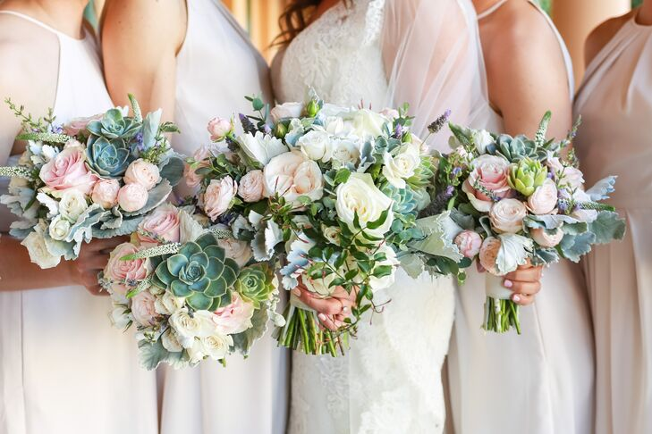 Not wanting the bouquets to overpower her bridesmaids, Andrea chose a loose gathering of garden roses, succulents and lavender.