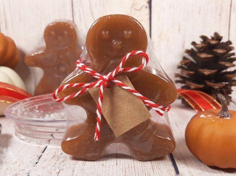 gingerbread man shaped soap wedding favor