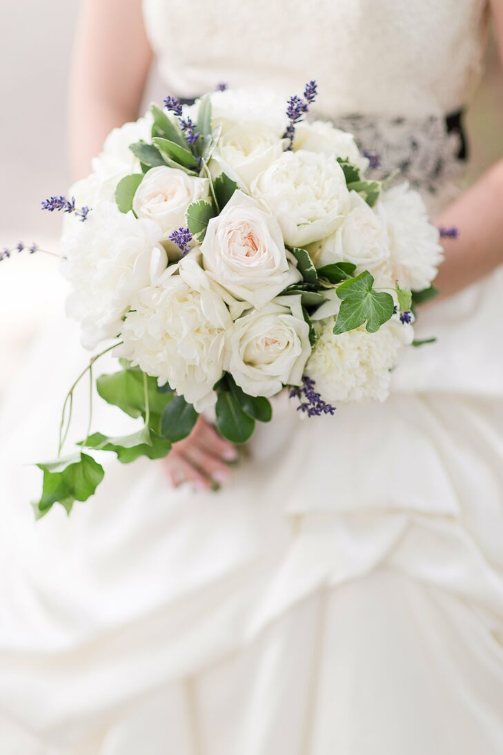 White and Blush Rose Bridal Bouquet