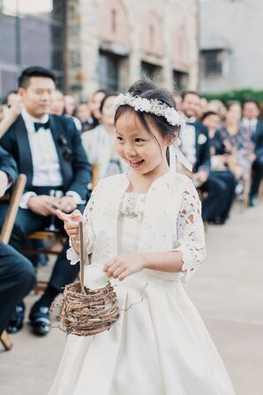 Flower Girl with a Woven Basket and Rose Petals