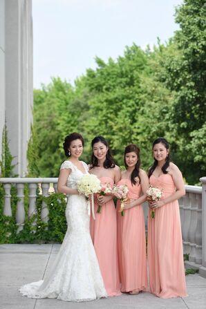 Strapless Peach Donna Morgan Bridesmaid Dresses