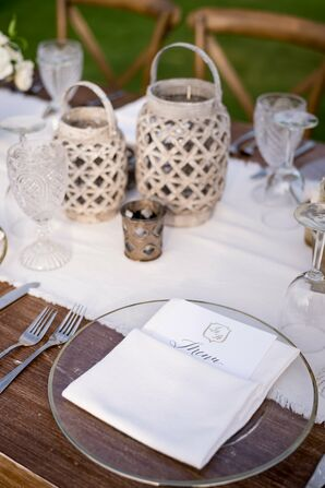 Clear Gold-Rimmed Chargers with Ivory Linens