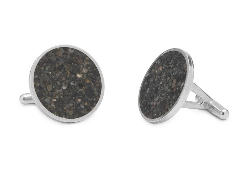 Unique set of sand-filled silver cuff links