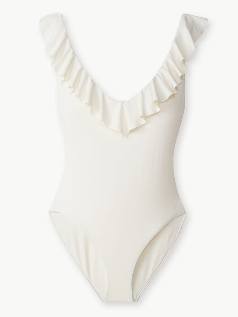 White ruffle neckline one-piece bathing suit