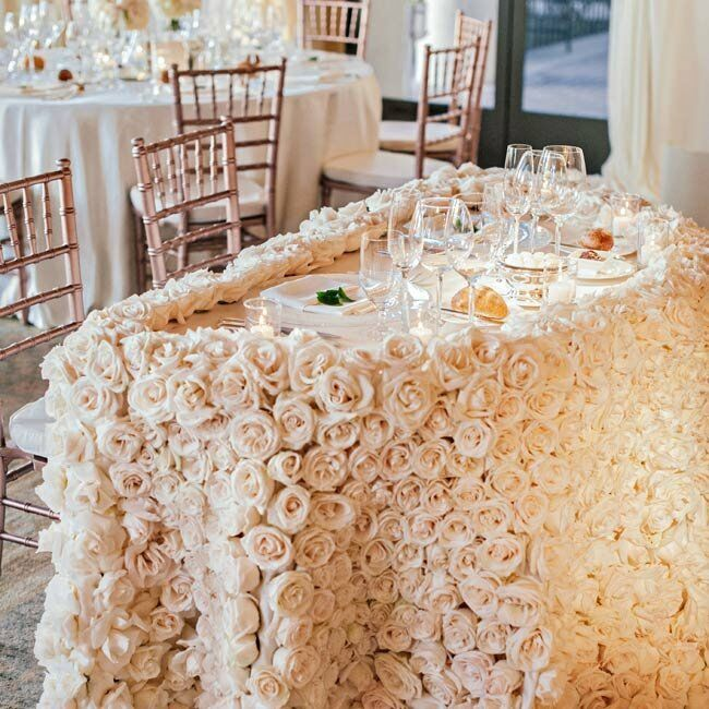 An ivory rose table cloth added a unique touch to the decor.