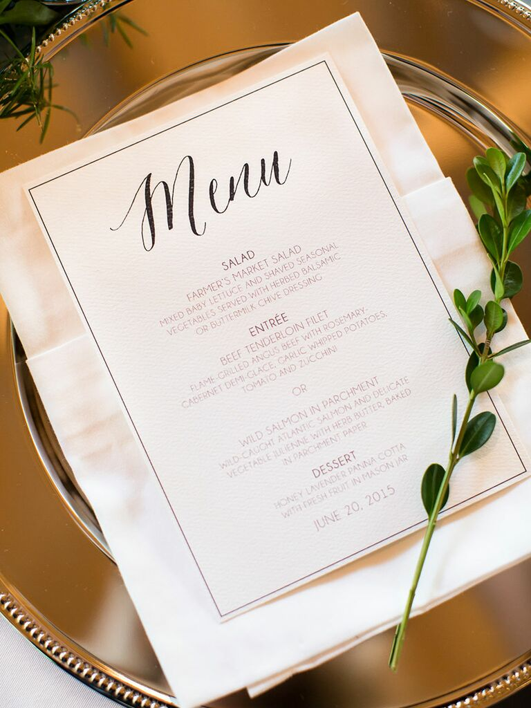 dinner menu at wedding