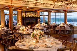 Romantic Reception with Round Tables and String Lights
