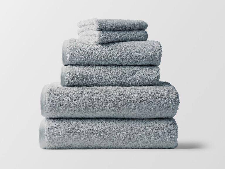 blue gray fluffy cotton towel set