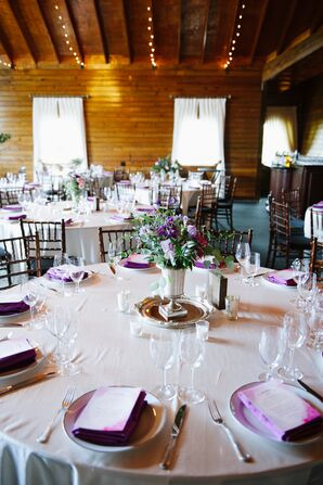 Barn Reception with String Lights and Purple Decor