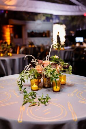 Printed Tablecloth, Candles and Centerpiece with Roses and Greenery