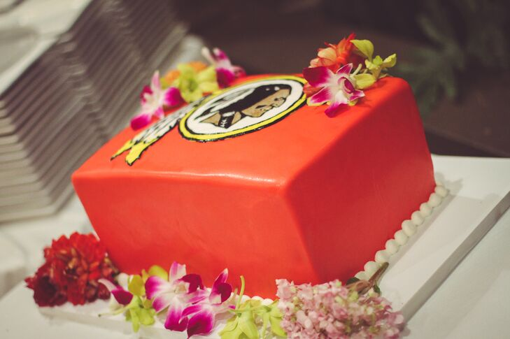 Bright Redskins Sports Groom's Cake with Purple Orchids