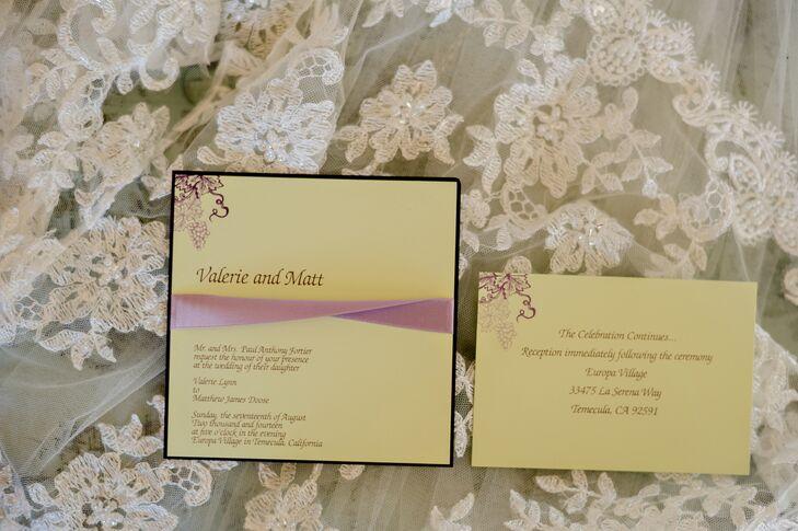 Yellow Invitations With Grapevine Design
