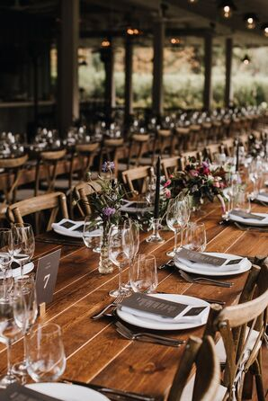 Rustic Wooden Farm Tables with Black Taper Candles and Wildflowers