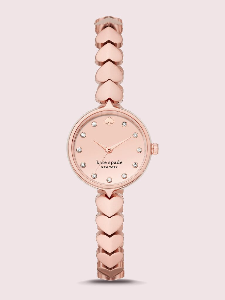 Rose gold-tone stainless steel watch with heart link bracelet 15th anniversary gift