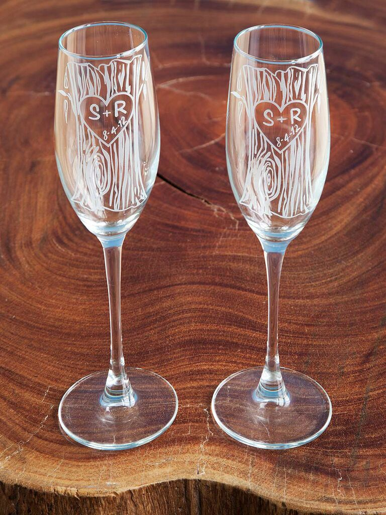 faux bois champagne flutes etched with initials