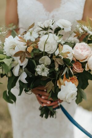 Rustic Bouquet of Peonies, Ranunculus and Colorful Leaves