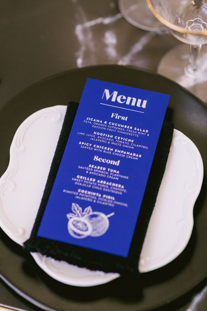 Blue Menu Card for Wedding Reception in Tulum, Mexico