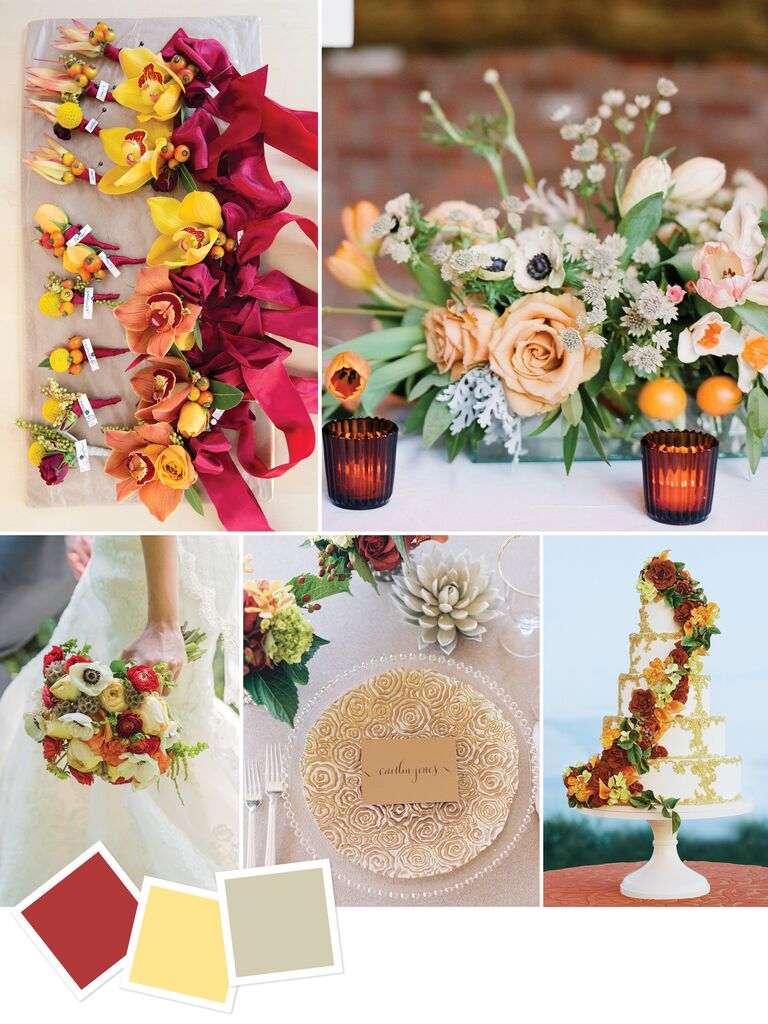 15 wedding color combos youve never seen cinnamon and yellow fall wedding color combination junglespirit Image collections
