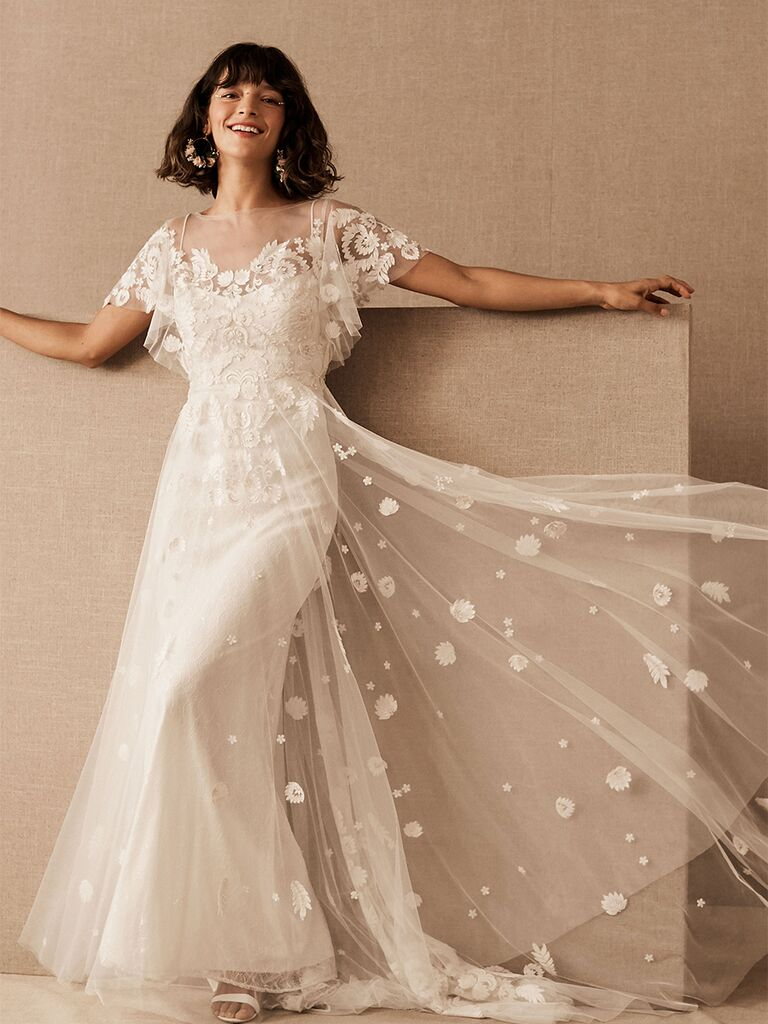BHLDN A-line dress with sheer embroidered overlay and butterfly sleeves