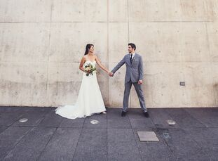 Christine and Neil wanted an artsy, eclectic vibe for their wedding day, which was held at an art museum in Grand Rapids.