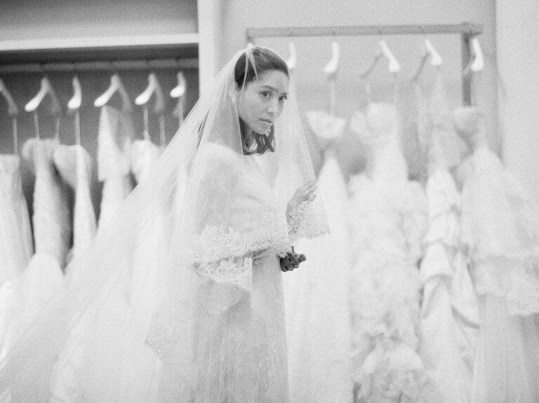 Wedding gown and veil shopping at bridal salon