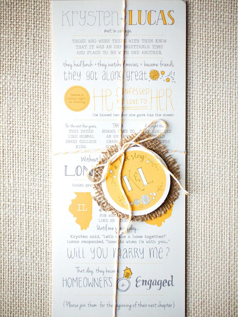 Love Story Timeline Wedding Invitation Idea