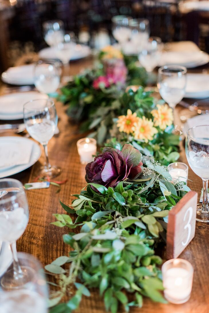 Rustic Leaf Centerpieces with Greenery and Wildflower Table Runners