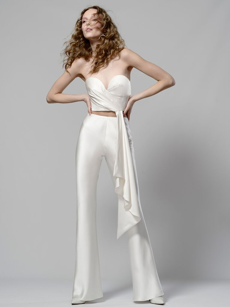 Elizabeth Fillmore Spring 2019 bridal look with draped cropped top and flared pants
