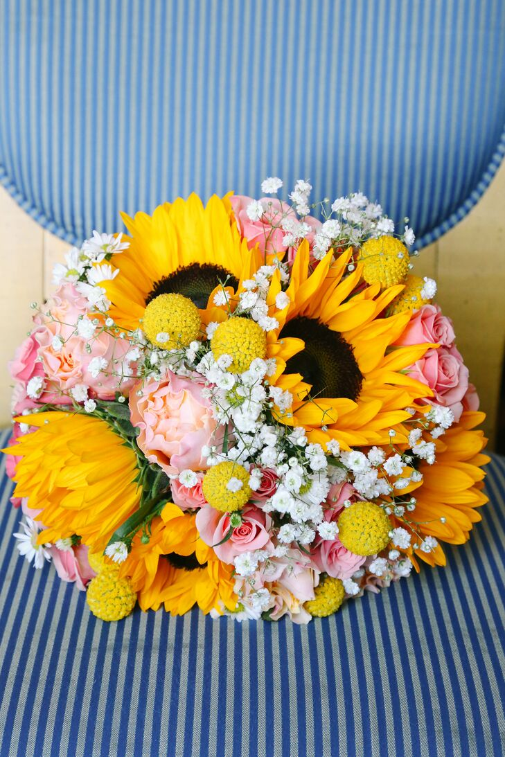 Sunflower, Rose and Peony Colorful Bouquet