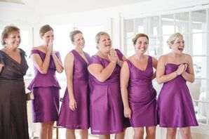 Purple Bridesmaid Dresses at First Look