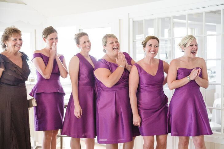 """""""Since I'd been a bridesmaid many times, I wanted to be sure my bridesmaids were able to choose something that fit their body and made them feel good,"""" Melanie says. """"I chose a designer I liked and the color and fabric I liked, and let them go to town. The eclectic look was perfect for us."""""""